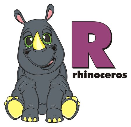 rhinoceros with word rhinoceros and letter r