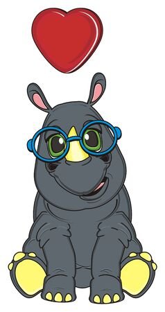 rhinoceros in blue glasses and red heart