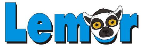 lemur: muzzle of lemur peek up from word lemur Stock Photo