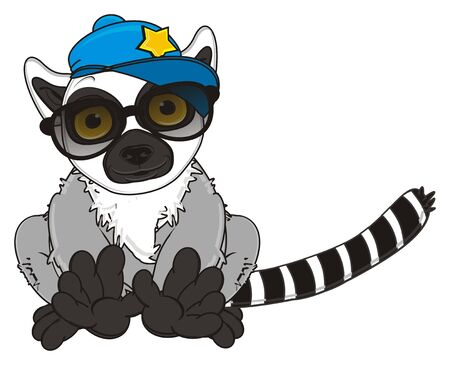 lemur in cool cap and sunglasses sit