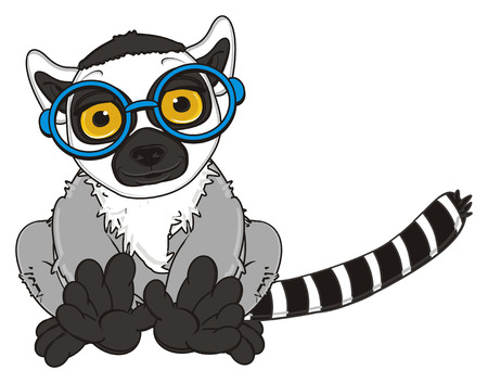 lemur: lemur in blue glasses sit Stock Photo