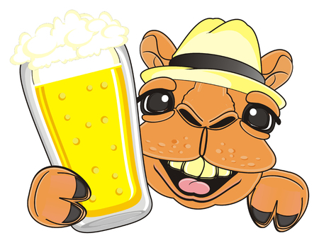 laughing snout of camel in hat with glass of beer