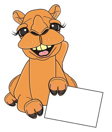 laughing camel lying and hold a clean paper