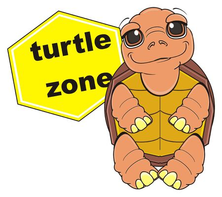 turtle stand near the yelow road sign turtle zone