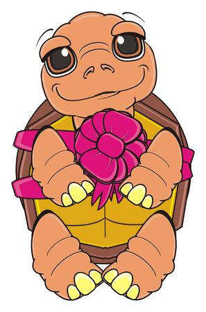 turtle gift with pink bow Stock Photo