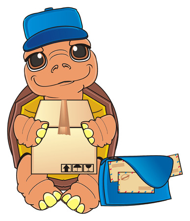 swimming cap: turtle postmen stand and hold a box near the bag of envelope