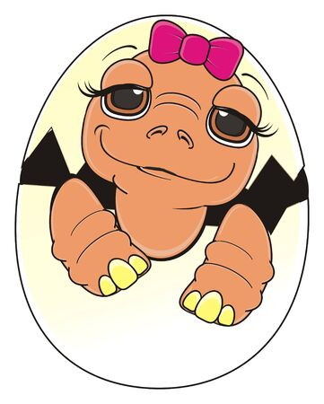 baby turtle girl with pink bow sit on the egg