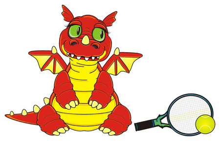 dragon stand and want play to tennis