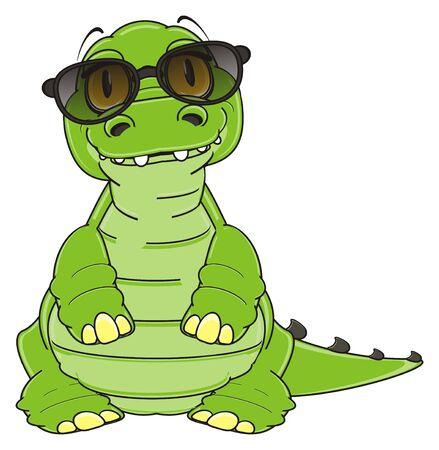 crocodile in black sunglasses stand Stock Photo