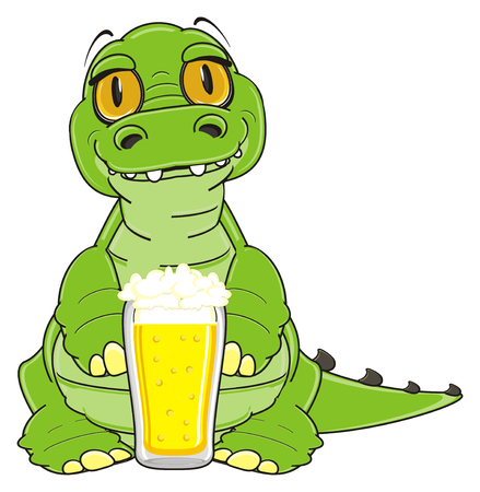 crocodile stand with glass of beer