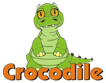 crocodile stand with word corocodile Stock Photo