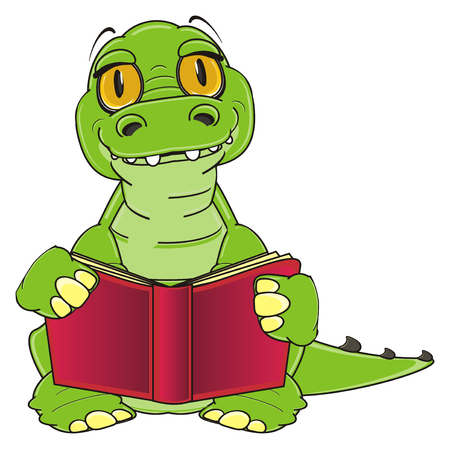 crocodile read a book Stock Photo