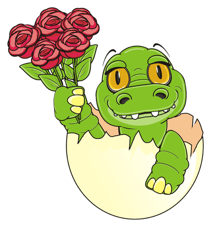 little crocodile sit on egg and hold a red roses