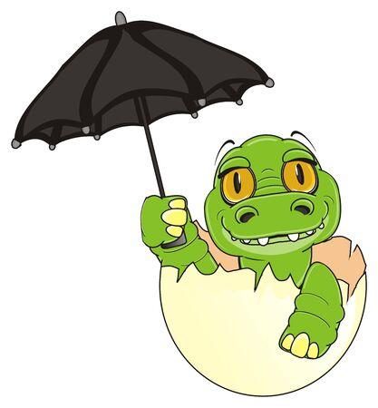 little crocodile sit on egg and hold a black umbrella