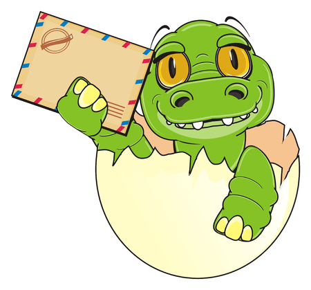 little crocodile sit on egg and hold a clean envelope