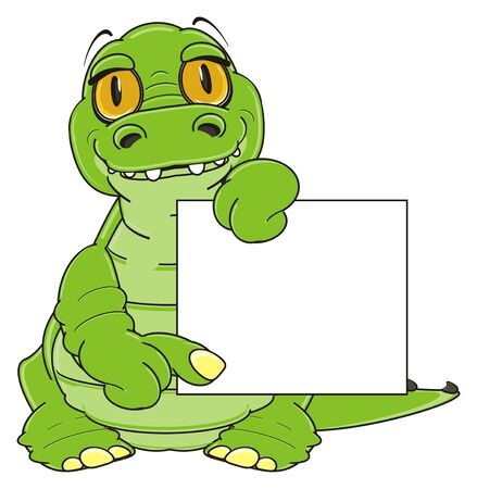 green crocodile hold a clean plate Stock Photo