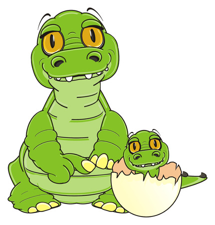 mother crocodile with her child