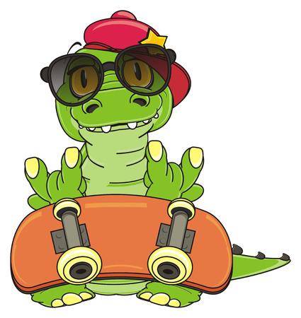 trendy crocodile with skate Stock Photo