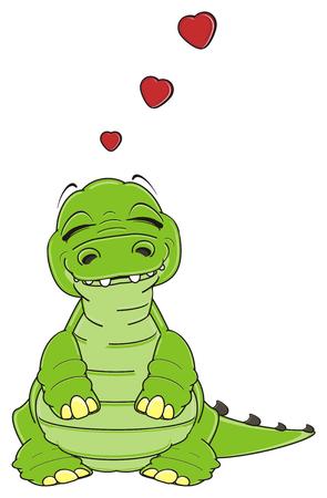 sleeping crocodile in love Stock Photo