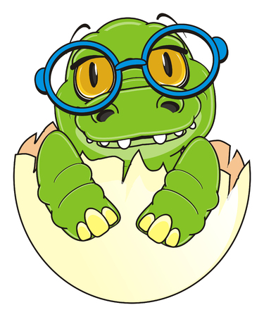 baby crocodile in round glasses sit on egg