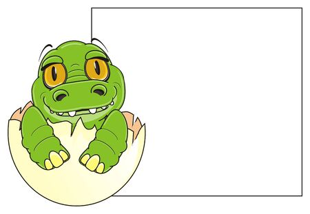baby crocodile sit on egg near the clean banner Stock Photo