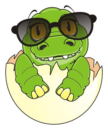 baby crocodile in black sunglasses sit on egg