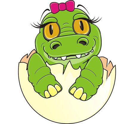 baby crocodile girl sit on egg Stock Photo