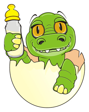 baby crocodile sit on egg and a bottle of milk