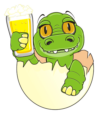 baby crocodile sit on egg and hold a beer Stock Photo