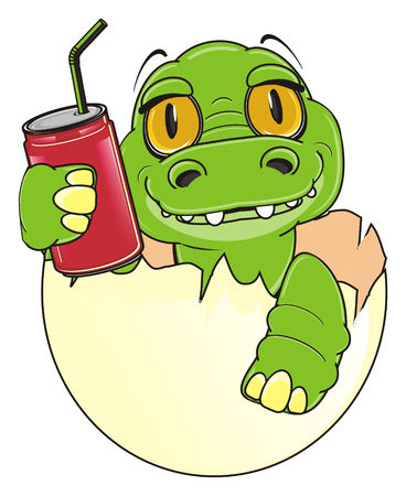 soda can: baby crocodile sit on egg and hold a soda can