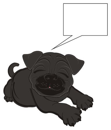 black pug: sleeping black pug with clean callout