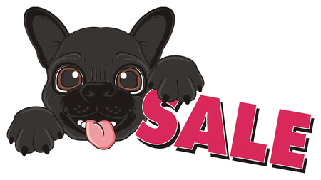 french bulldog: happy muzzle of black french bulldog with word sale