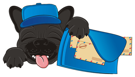 french bulldog: sleeping muzzle of black french bulldog postmen