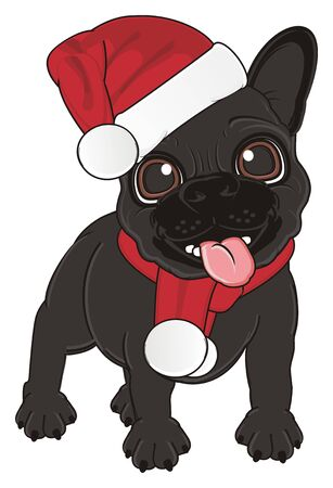 french bulldog: black french bulldog in Santas costume