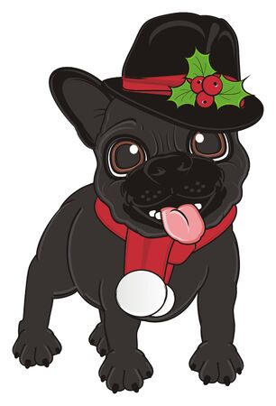 french bulldog: black french bulldog in christmas costume