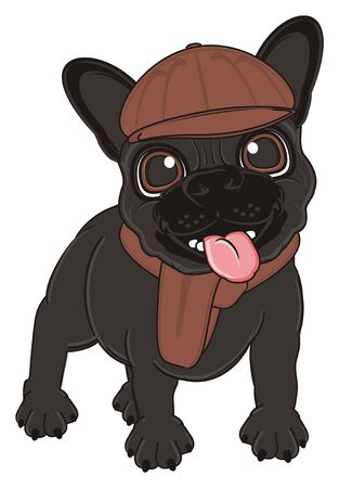 french bulldog: black french bulldog in brown clothes