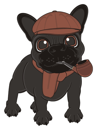 tabacco: black french bulldog in brown clothes with pipe