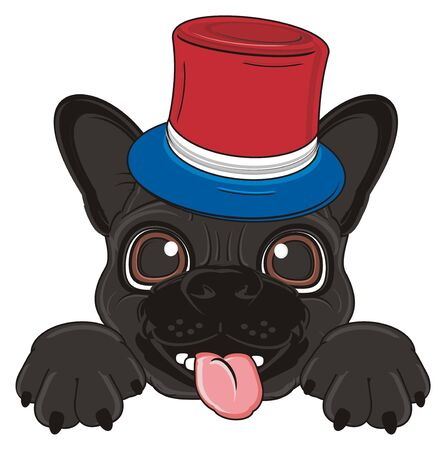 french bulldog: snout of black french bulldog in hat of France flag Stock Photo