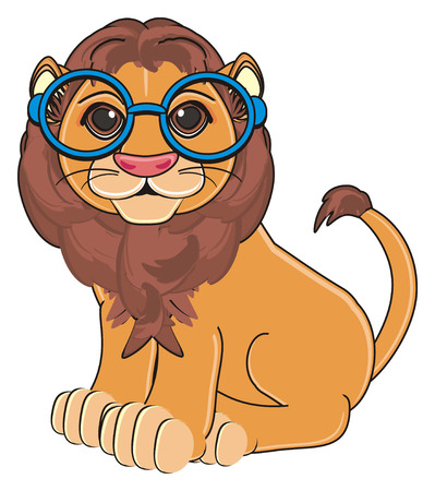 lion in blue glasses sit Stock Photo