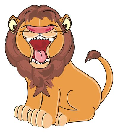 evil lion sit and show his teeth