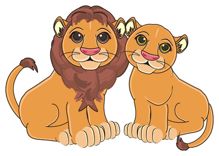 lion boy sit with lion girl