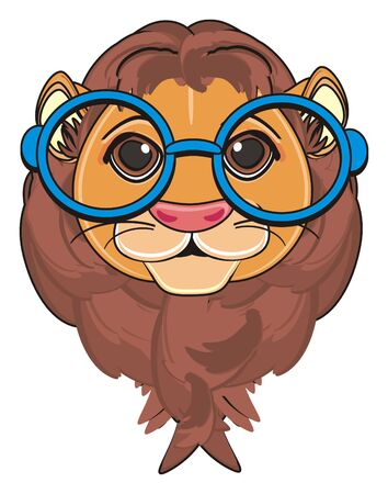 snout of lion in glasses
