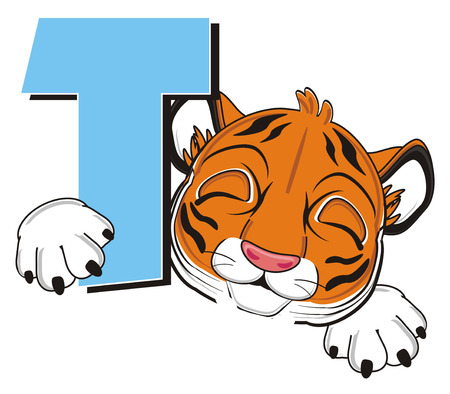 meow: sleeping face of tiger hold a letter t
