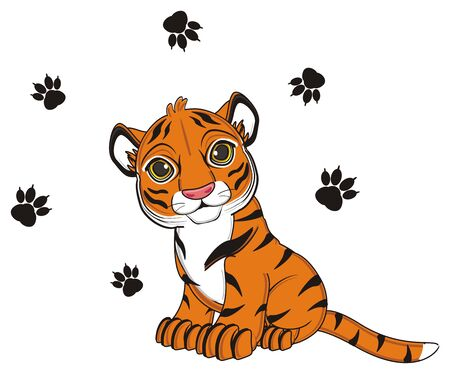meow: tiger sit and a lot of black footprint fly aroud