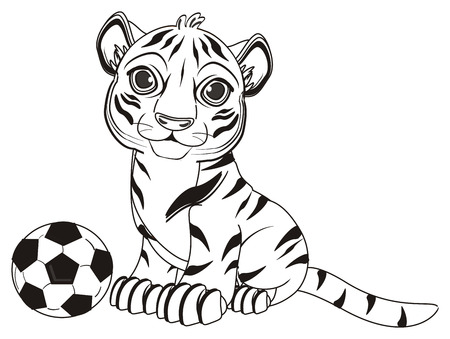meow: coloring tiger sit with a soccer ball Stock Photo