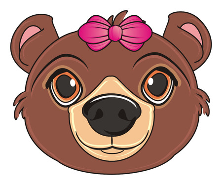 head of brown bear with pink bow Stock Photo