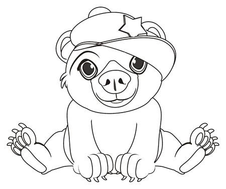 coloring bear in cap sit