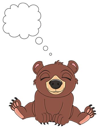 sleeping brown bear with clean callout