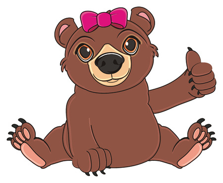 brown bear with nk bow sit and show gesture Stock fotó