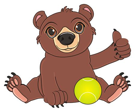 brown bear sit with tennis ball and show gesture cool Stock Photo